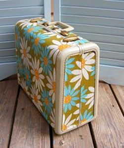 upcycle an old suitcase by covering with vintage fabric. Here I am still kicking myself about the $3 vintage suitcase at yardsale...