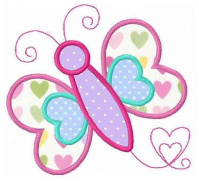 Butterfly love applique machine embroidery design.
