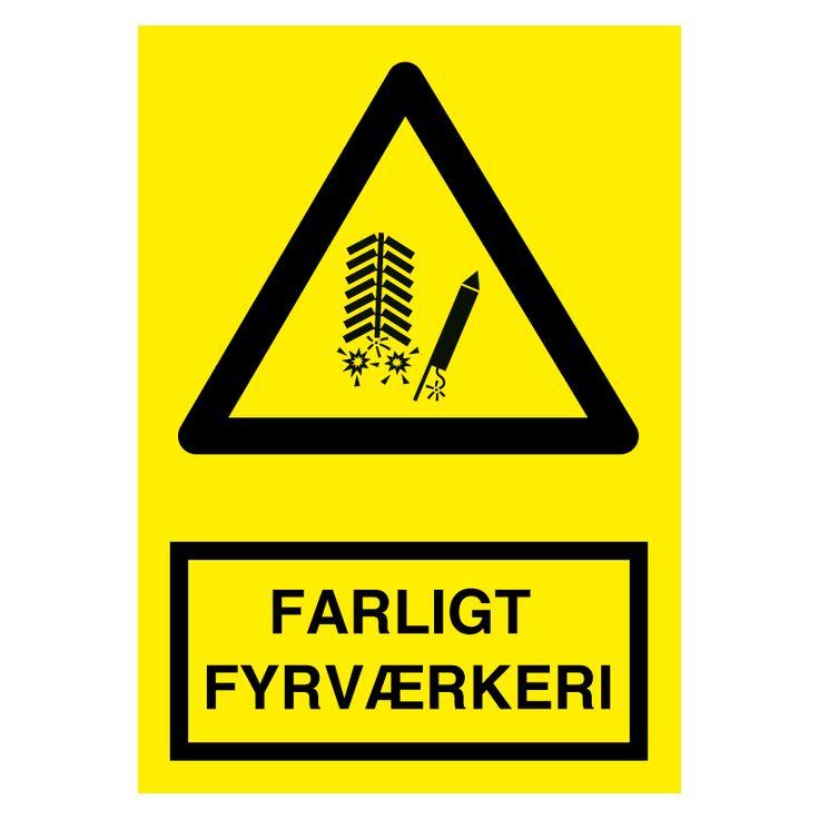 Køb - FARLIGT FYRVÆRKERI skilt - Advarselsskilte