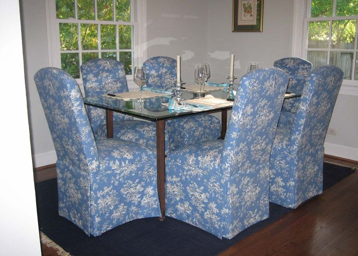 Dining Room With Hatteras Skirted Parsons Chairs ($139) Around A Glass  Table. Nice