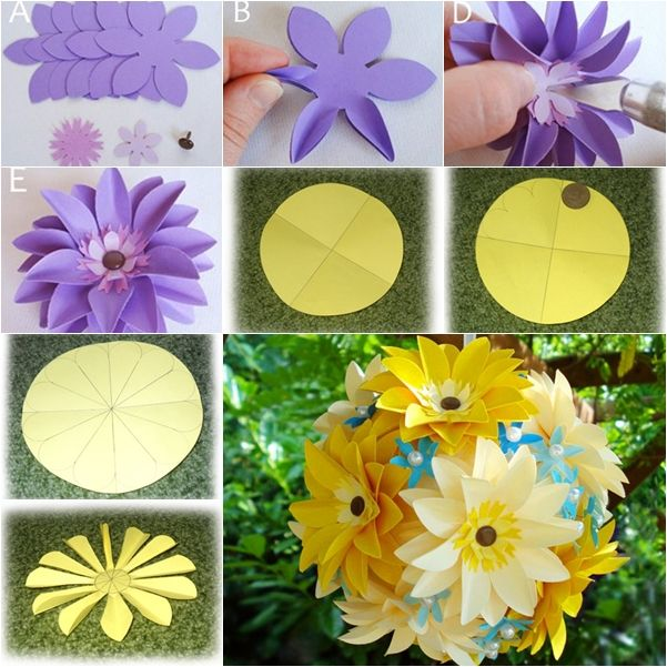 153 best diy flowers images on pinterest fabric flowers diy diy easy paper flower ball in 2 ways mightylinksfo