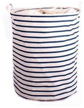 Blue Strip Laundry Hampers - contemporary - Hampers - Colorful Wall Decals,INC.folds flat when not in use    Houzz   $17.99