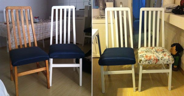 Pintando fórmica e renovando as cadeiras