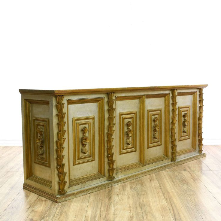 """Silver & Gold Sideboard Credenza Buffet -$320 84""""L x 20""""D x 33.5""""H"""