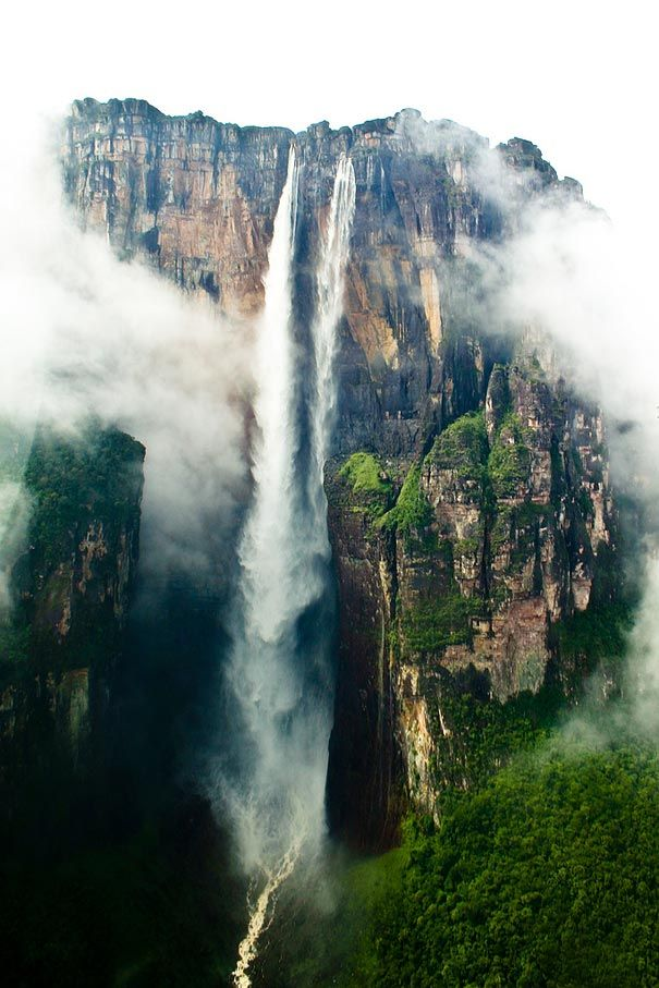 "Angel Falls or ""waterfall of the deepest place"", or Parakupá Vená, meaning ""the fall from the highest point"" is a waterfall in Venezuela. It is the world's highest uninterrupted waterfall, with a height of 979 m (3,212 ft) and a plunge of 807 m (2,648 ft). The waterfall drops over the edge of the Auyantepui mountain in the Canaima National Park."