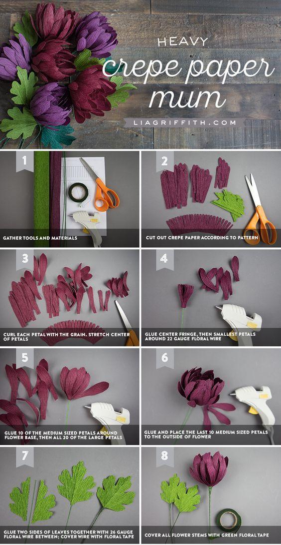 DIY Crepe Paper Mum www. LiaGriffith.com #paperflowers #paperflower #crepepaperflower #crepepaperrevival