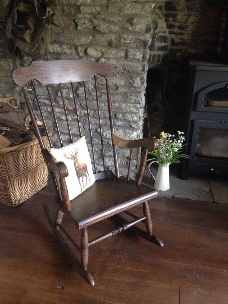 wooden rocking chair | eBay