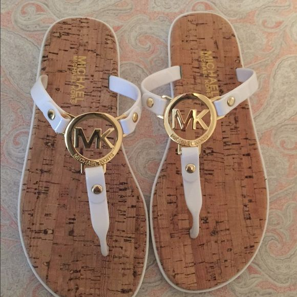 Michael Kors white jelly  flip flop sandal 6 New without box  Charm is gold More sizes/ colors available MICHAEL Michael Kors Shoes
