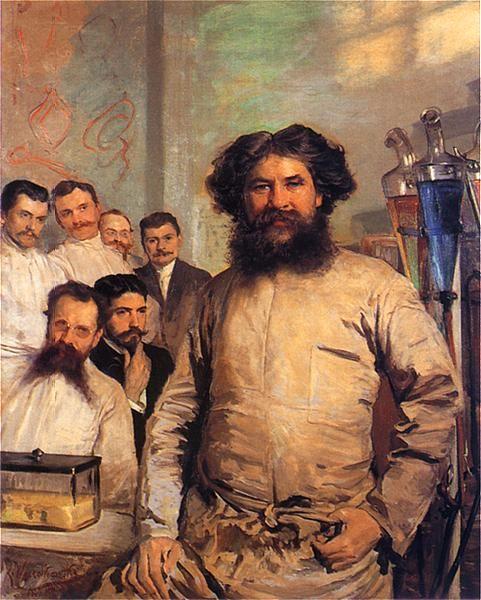 Leon Wyczółkowski - Portret prof. Ludwika Rydygiera z asystentami, 1897