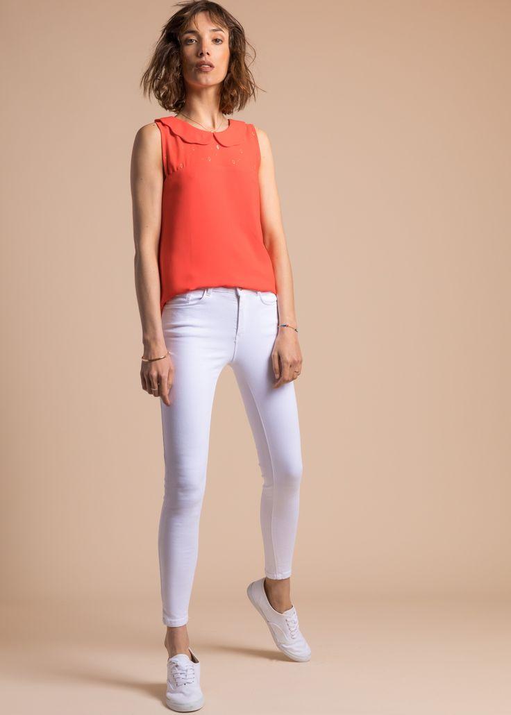 Collection PE 17 | La petite étoile blouse manches courtes  col claudine  chic classique  casual wear  casual chic