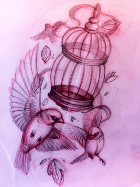 Birds & Cage Tattoo Sketch. Would like something like this but behind my ears