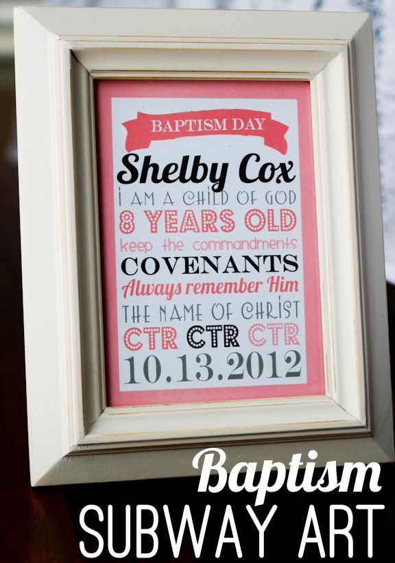 Baptism Subway ArtChurch Ideas, Subway Art, Gift Ideas, Baptisms Ideas, Baptisms Subway, Personalized Baptisms, Baptisms Gift, Free Baptisms Printables, Printables Baptisms