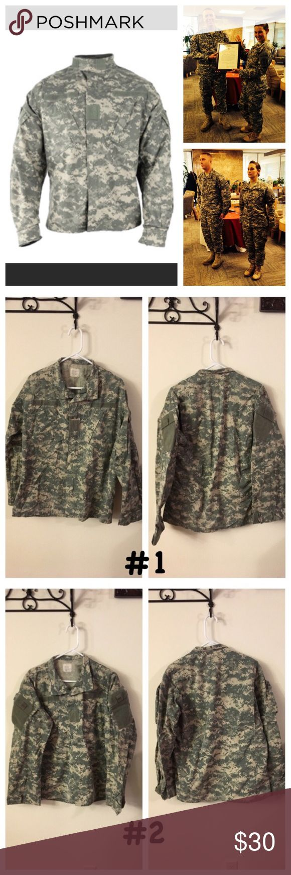 "💥Army Combat Uniform (ACU) Medium-Long: 4 tops ❤Same day shipping (excluding Sun/holidays or orders placed after P.O. Closed)  PRICE FIRM unless bundled. ❤  Price is for 1 top! Size Medium Long Army Combat Uniform Tops. Each photo is front/back of each separate Top. Gender neutral uniforms. For sizes: height 71""-75"" and chest 37""-41"". Normal wear from use: free from holes/stains. Smoke/pet free home. Some of the labels have writing. My husband had a system to keep tops/bottoms together…"