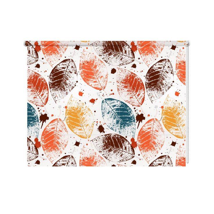 Rolgordijn Gekleurde herfstbladeren| De rolgordijnen van YouPri zijn iets heel bijzonders! Maak keuze uit een verduisterend of een lichtdoorlatend rolgordijn. Inclusief ophangmechanisme voor wand of plafond! #rolgordijn #gordijn #lichtdoorlatend #verduisterend #goedkoop #voordelig #polyester #herfst #illustratie #patroon #bladeren #blad #gekleurd