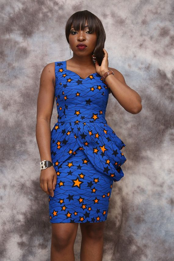 Robe courte imprimé africain, longueur genou, vêtements africains, robe…