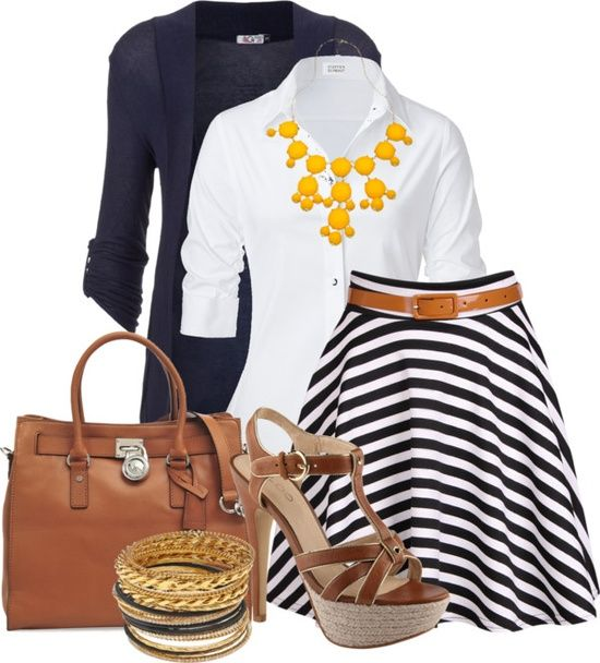 black/white skirt, white button down shirt, long navy cardigan, yellow bauble necklace, brown tote, brown strappy sandals