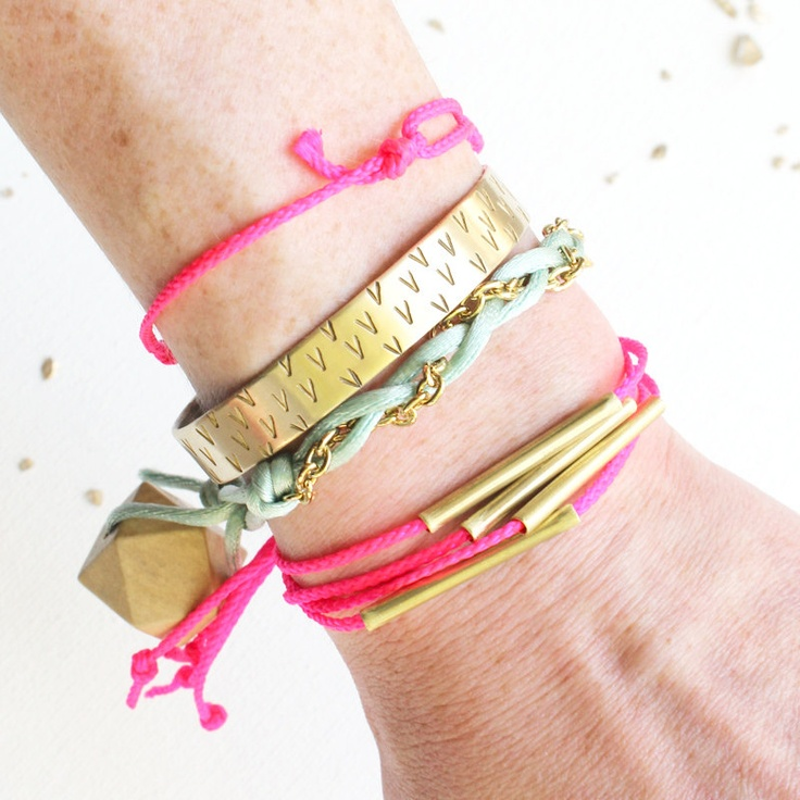 NEON STRANDS BRACELET / stacking bracelet: Neon Summer, Bracelets Stacking, Neon Strands, Neon Brass, Brass Bangles, Strands Bracelets, Brass Strands, Stacking Bracelets, Bangles Bracelets