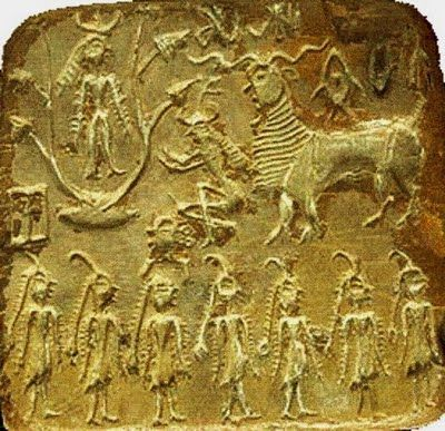 Indus-Harappan Seal. Much conjecture exists as to who the man is. This is the classic pose of the masters of the Jain religion; naked standing with arms and legs not touching the body. Jainism predates the Vedas, Hinduism and Buddhism. Yet the Vedas do mention the Jain masters.