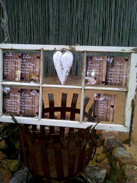 Old window frame for seating chart
