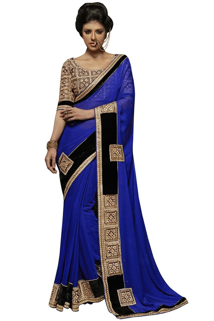 Faux Georgette blue designer embroidery saree with unstiched blouse GS100782 Prafful.com