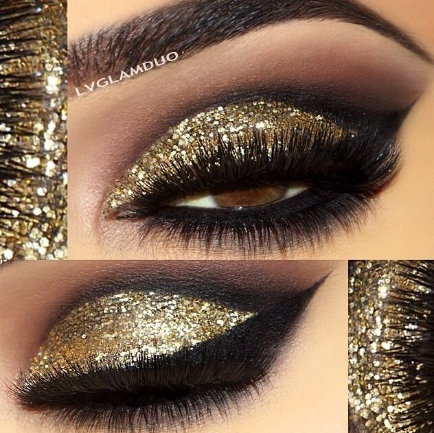 Nye Gold Smokey Eyes Makeup Gold Glitter Eyeshadow