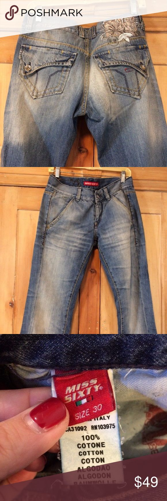 """Retro Jeans Miss Sixty 30 x 34"""" Made in Italy Ladies Jeans Miss Sixty Size 30 Inseam 34"""" Made in Italy 8.5"""" rise on the lower side of classic (9) Miss Sixty Jeans"""