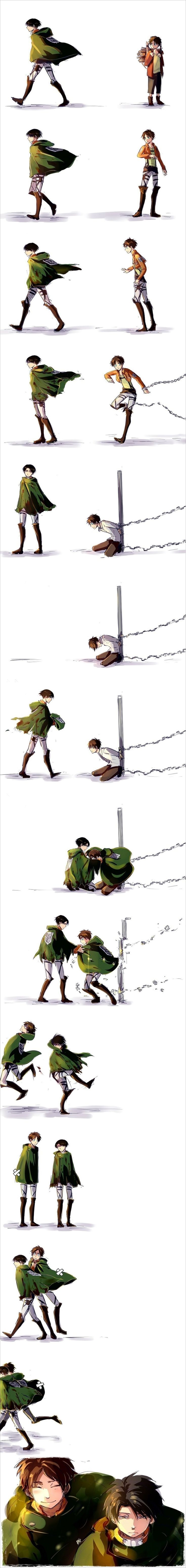 Shingeki no Kyojin - Levi and Eren. It's kinda sad- if you watch Levi's cloak, it slowly gets bloodier.