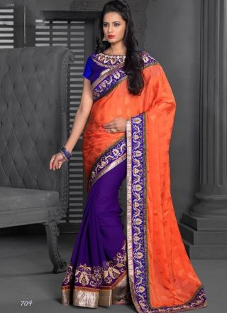 Purple And Orange Jacquard Embroidery Work Designer Saree