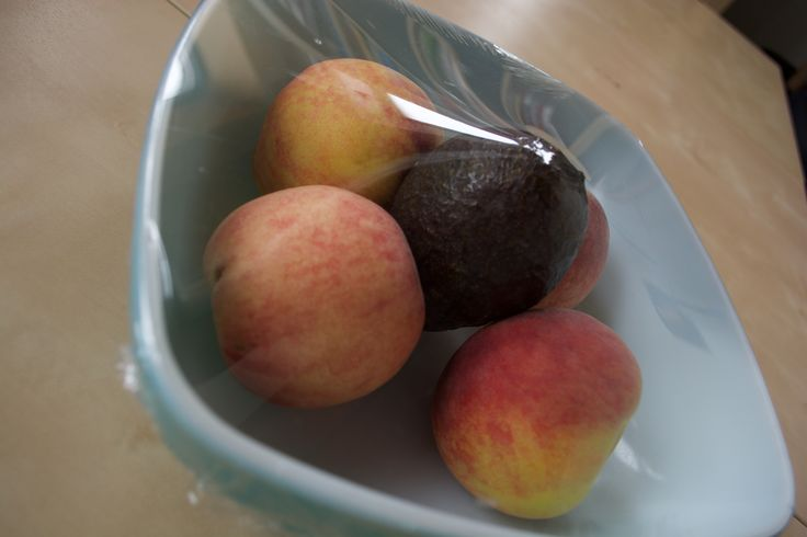 "Ever had a peach that wasn't ripe? Puts new meaning to the term ""stone fruit!"" Ripen it quickly by placing in a bowl with an avocado and covering with Stretch-Tite."