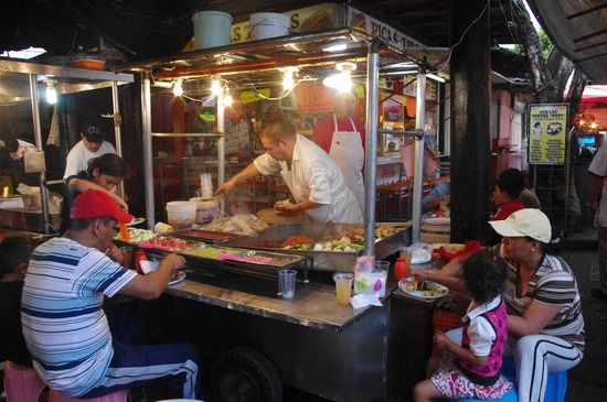 Taco stands in Mexico, its like the hot dog stand in the U.S.