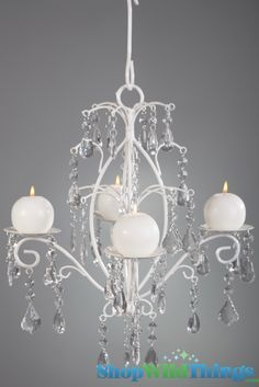 """Rachelle"" Crystal & White Hanging Candle Chandelier, Medium $43.99 love! Probably spray in a bronze/gold color"