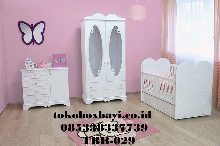 Set kamar Bayi Cat Duco Kupu Kupu - Jual 1 Set full Tempat Tidur Bayi yang terdiri dari Box Bayi Baby tafel dan Lemari Baju Bayi Harga Murah Kayu Mahogny