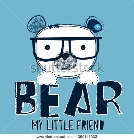 white teddy bear with glasses, T-shirt design vector illustration