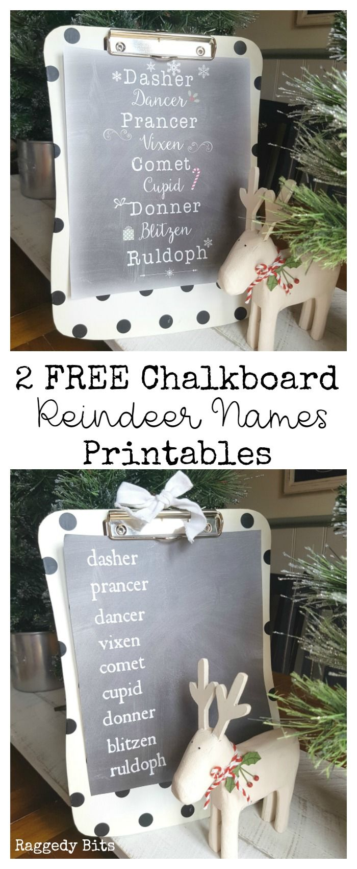 A choice of 2 FREE Chalkboard Reindeer Name Printables to decorate your home with this Christmas |
