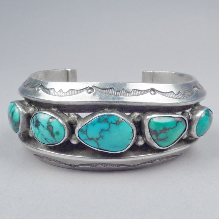 Wide Silver Cuff with Five Turquoise Stones | Shiprock Santa Fe