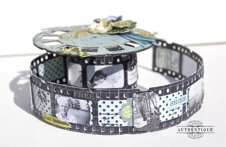 Loes de Groot for Authentique Paper making a film spool mini album using Hampton Arts stamps; May 2013