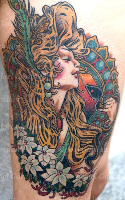 PIC ART NOUVEAU | Art Nouveau design tattoo on outside right upper leg of young woman ...