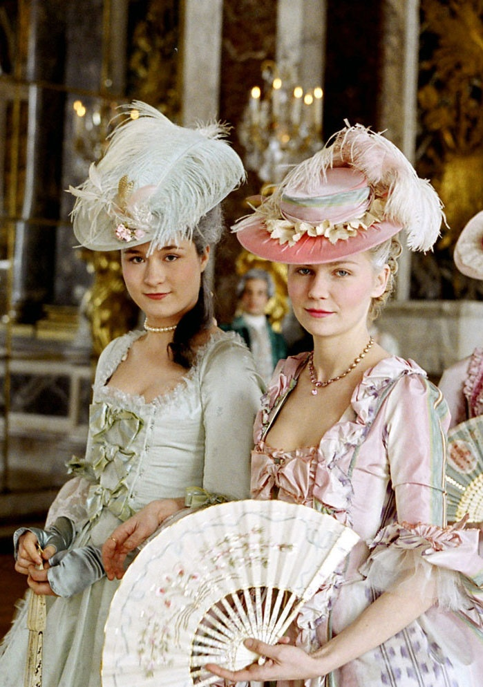 Promotional image from the set of Sophia Coppola's Marie Antoinette, 2006, based off of Antonia Fraser's book MA: The Journey.