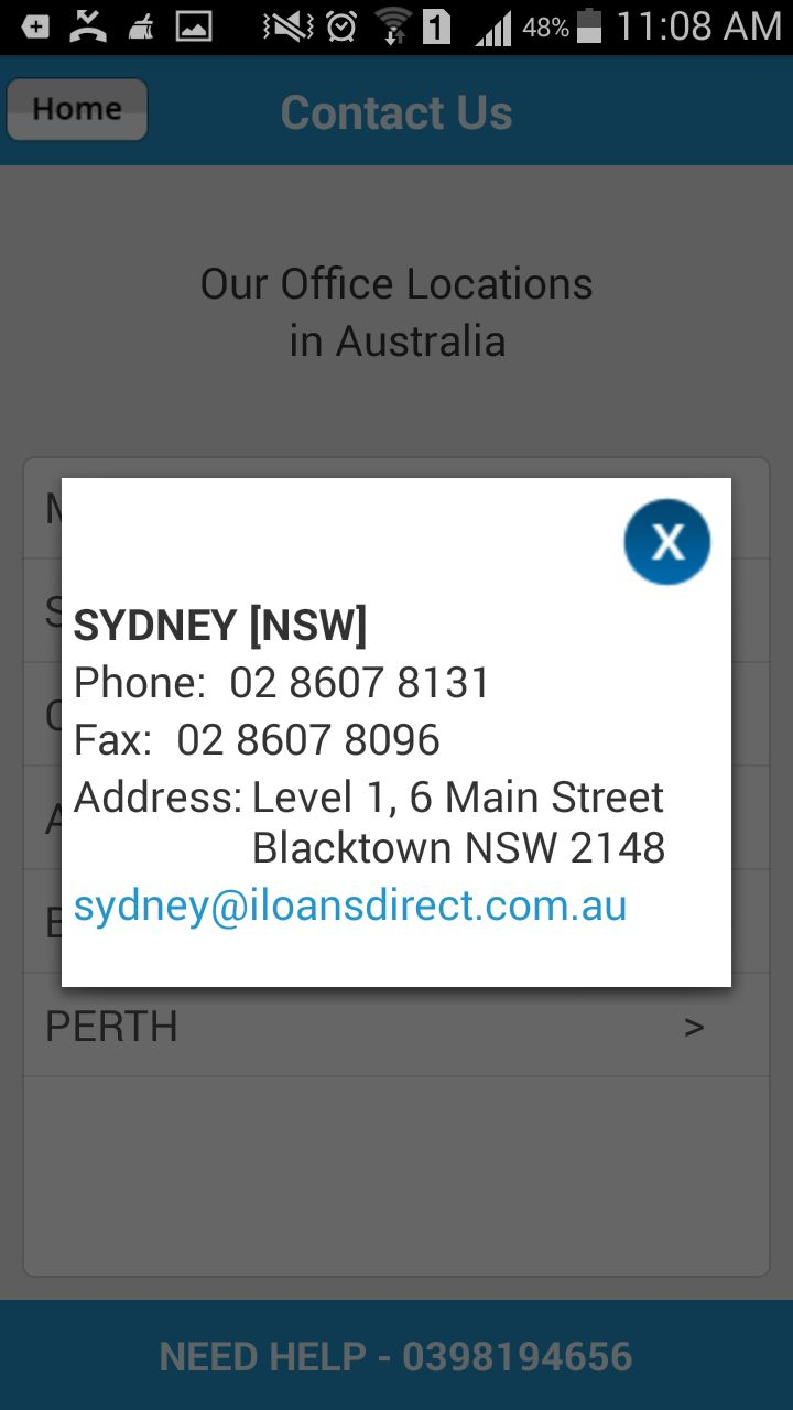 Get the contact address, phone no. as well as email id of the Sydney office of the #LoansDirect through #LoansCalculator smartphone app.