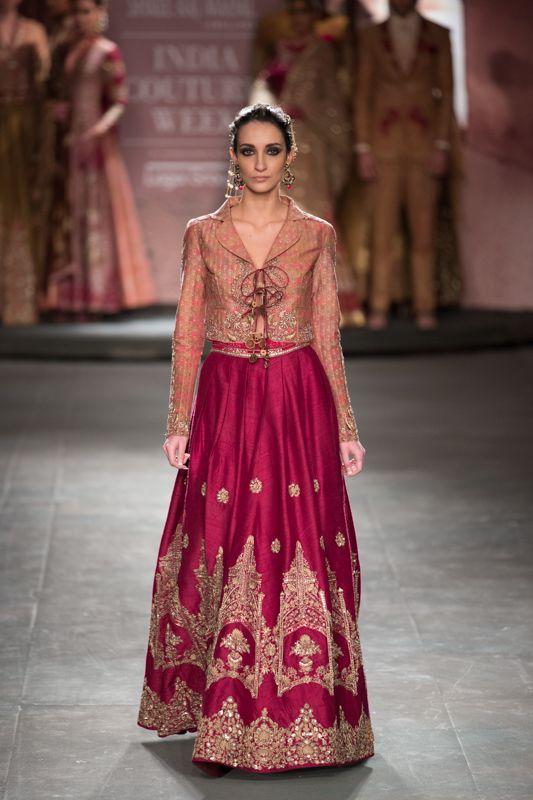 Anju Modi at India Couture Week 2014 - red lehnga with jacket