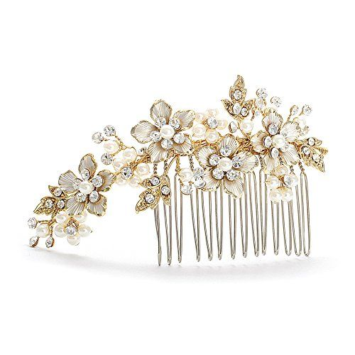 Mariell Handmade Brushed Gold and Ivory Pearl Wedding Comb  Crystal Jeweled Bridal Hair Accessory -- Click image to review more details.(This is an Amazon affiliate link and I receive a commission for the sales)