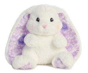 Lopsie Wopsie Flowers Easter Medium Bunny Rabbit Plush Aurora Stuffed Animal Toy White with Purple Ears