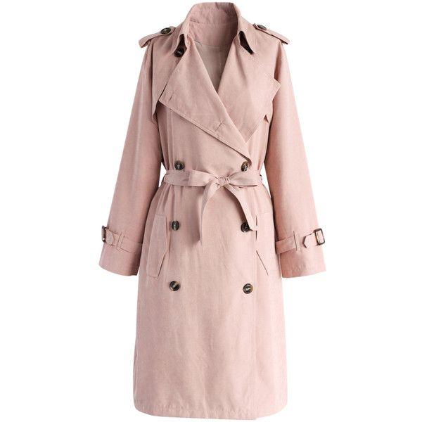 Chicwish Refined Double-breasted Trench Coat in Pastel Pink ($68) ❤ liked on Polyvore featuring outerwear, coats, pink, pink trenchcoat, trench coat, fur-lined coats, pink coat and double breasted belted coat