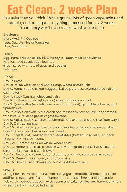 2 week meal plan for eating clean.