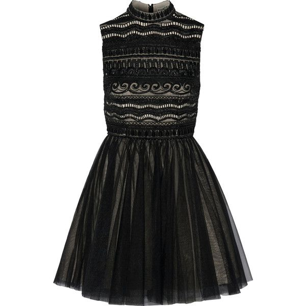 Alice + Olivia Taya embellished organza and tulle mini dress (37,155 PHP) ❤ liked on Polyvore featuring dresses, black, short dresses, black sequin dress, sequin cocktail dresses, short black skirt and short sequin cocktail dresses