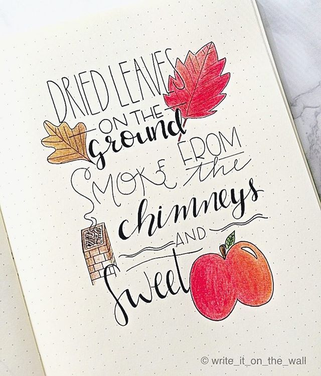 """""""Dried leaves on the ground, smoke from the chimneys and sweet apples"""" so..Welcome Fall 🍁🍂🍎 🇮🇹 """"Foglie secche per terra, fumo dai camini e mele dolci"""" insomma..Benvenuto Autunno 🍁🍂🍎 #letteritoctober #leuchtturm1917 #leuchtturm #showmeyourplanner #leaf #typography #bulletjournal #bujo #handlettering #handlettered #moderncalligraphy #lettering #calligraphy #calligraphyph #planner #planneraddict #plannerlove #plannernerd #handwriting #handtype #stationery #bulletjournaling…"""