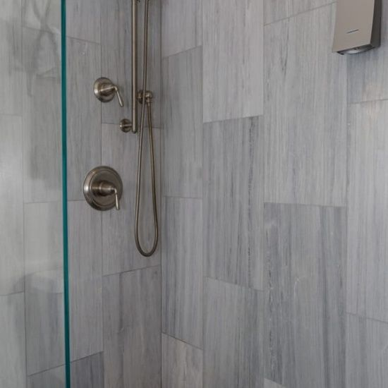 El Bathroom Custom Shower Gray Flannel Honed Marble
