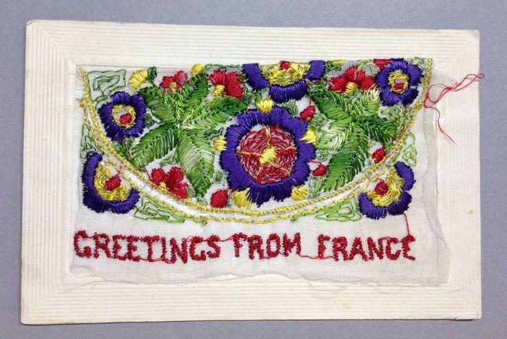 "WW1 Silk Postcard ""Greetings from France"""
