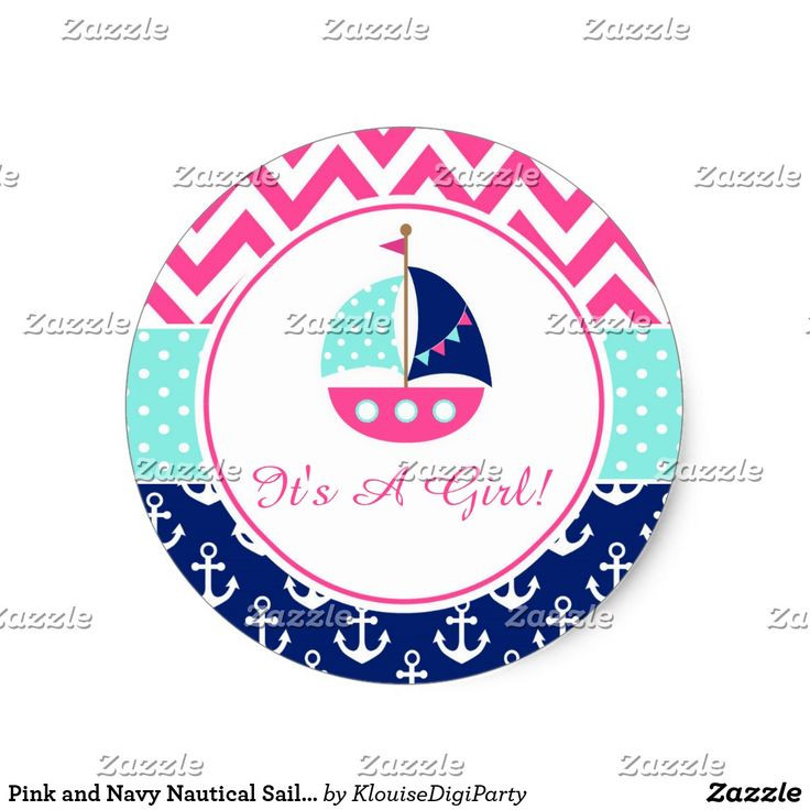 Pink and Navy Nautical Sailboat Baby Shower Classic Round Sticker