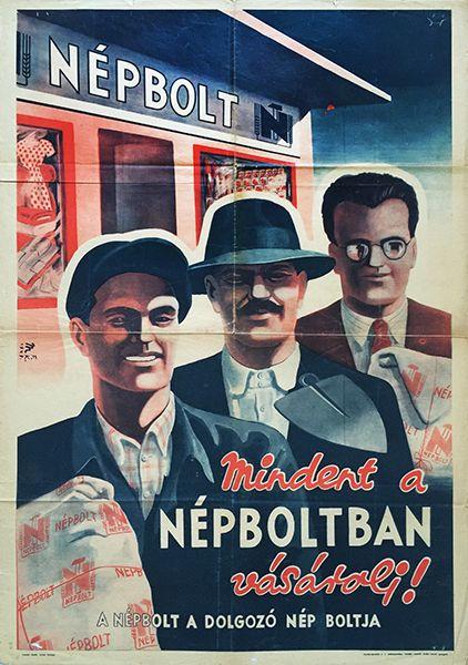 People's Store 1949 Hungarian communist propaganda poster